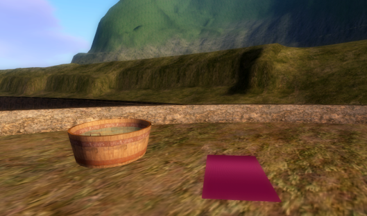 Second Life ~ where you can bathe while washing your clothes and wave at passing train riders or empty trains.
